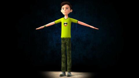 CARTOON RIGGED BOY - 3D CUTE COOL BOY MODEL