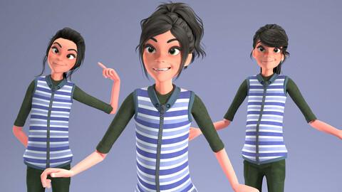 CARTOON RIGGED GiRL 2 _ 3D CUTE COOL GIRL MODEL