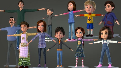 CARTOON CHARACTER BUNDLE 2 - Rigged character pack - family bundle