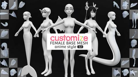 Customize Female Base Mesh-Anime Style