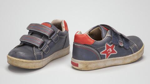 Kids Shoe Blue Leather