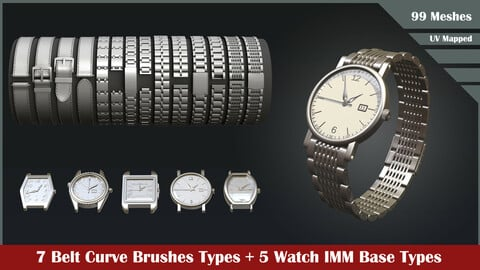 One IMM+ One Curve brushes to create watches in Zbrush