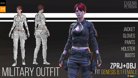 Military outfit. Personal project. MD, Clo3d projects+OBJ+render file