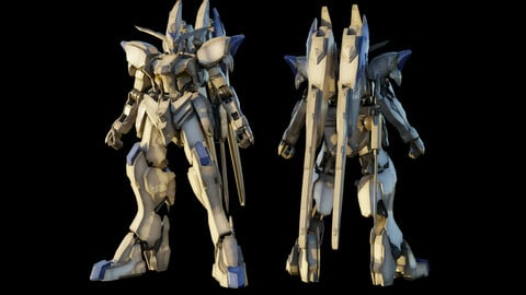 GUNDAM BAEL 3D MODEL rigged with texture
