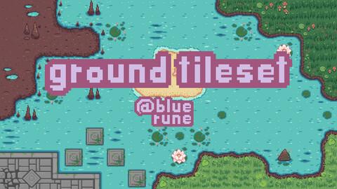 Ground and water Pixelart Tileset