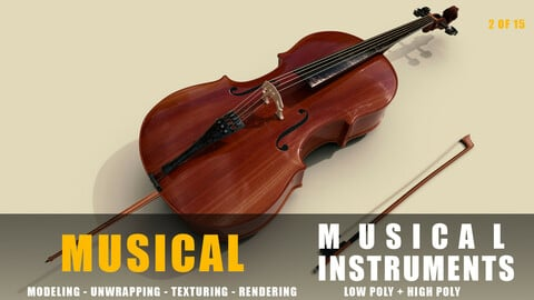 cello Musical instruments full detail low poly and high poly