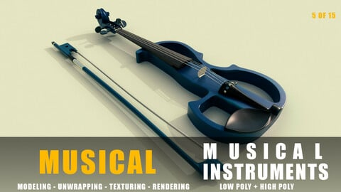 Electric violin Musical instruments full detail low poly and high poly