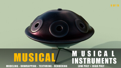 hang drum Musical instruments full detail low poly and high poly