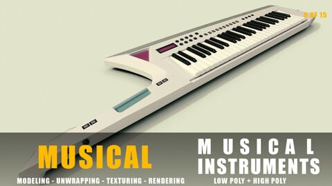 keytar Musical instruments full detail low poly and high poly