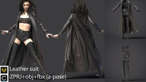 Leather suit / clo3d / marvelous designer