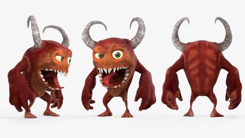Funny Cartoon Demon with Horns