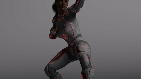 Sci-Fi Cyborg Rigged