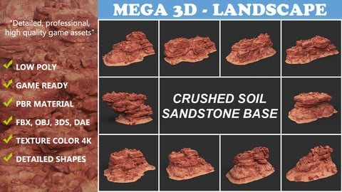 Low poly Crushed Soil Sandstone Base 210911