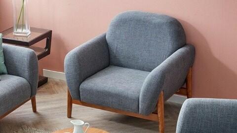 Amor solid wood fabric 1 seat sofa