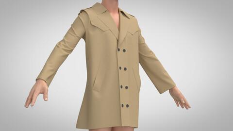 Trench Coat, Marvelous Designer, Clo3D, +.obj