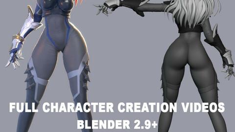 Ninja Girl Character Creation - Real-time process videos