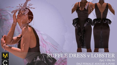 Ruffle Dress with Lobster and Pearls