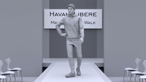 Male Runway for Realistic avatar-mannequin Clo3D