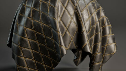 PBR - ANTIQUE LEATHER FABRIC / ROMBO PATTERN - 4K MATERIAL