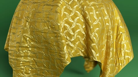 PBR - FABRIC WITH PATTERNS IN GOLDEN THREAD - 4K MATERIAL