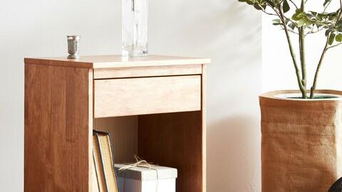 Vergum wood simple solid wood mini bedside side table shelf