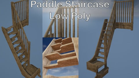 Paddle Style Staircase - Low Poly