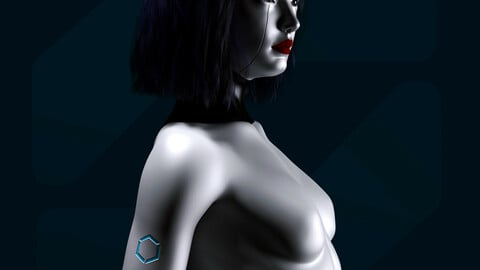 Sci Fi Humanoid Female Robot Rigged 3D model