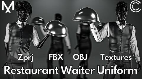 Marvelous Designer + Clo3d + OBJ + FBX + Texture : Restaurant waiter uniform