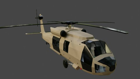 Low Poly Helicopter Blackhawk