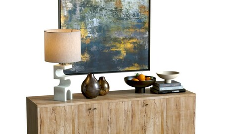 3D Model / Sideboard Set with Decor 01 / Crate&Barrel Furniture