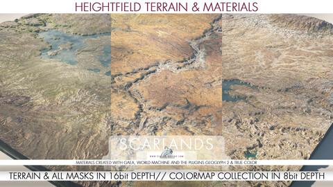 8k & 4k Heightfield Terrain & Material - Scarlands