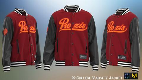 X-College Varsity Jacket , marvelous designer,clo3d