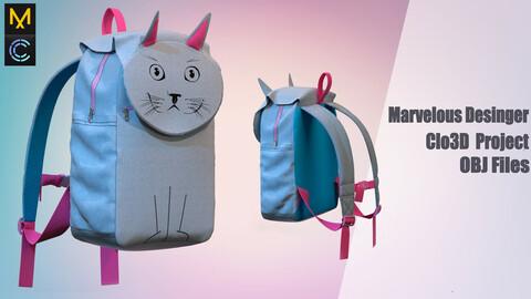 Children's backpack/ Marvelous Desinger/Clo3D Project+OBJ File