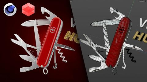 Project file Cinema 4D + Redshift - Victorinox Huntsman 3D Model Animation