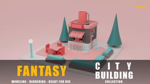 Coffe fantasy building collection cartoon city