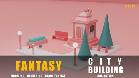 House fantasy building collection cartoon city