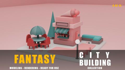 Ice cream shop fantasy building collection cartoon city