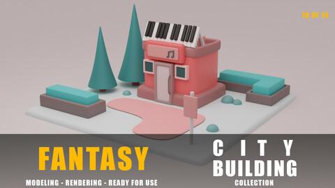 Hall fantasy building collection cartoon city