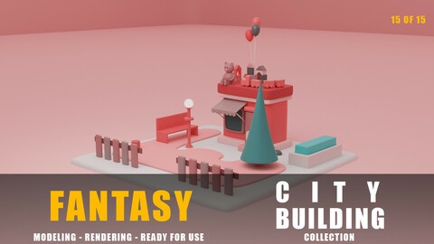 Toy store fantasy building collection cartoon city