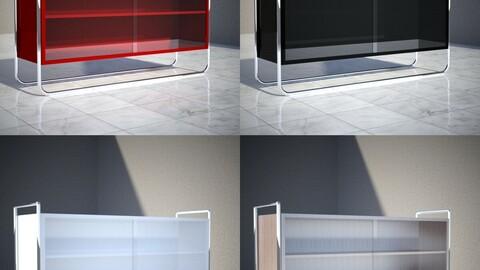 Tubular steel showcase cabinet