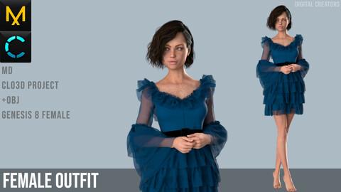 Female Outfit. Dress. Marvelous Designer / Clo 3D project +obj