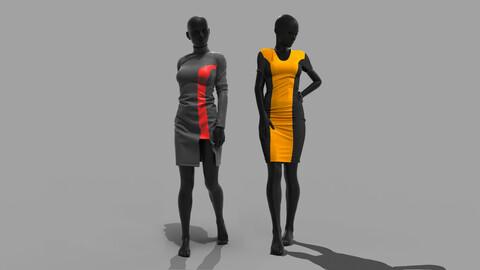 Female Dresses . Clo3D , Marvelous Designer