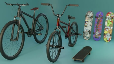 Mountain bike and BMX bicycles pack, and bonus Skateboard Low-poly 3D model