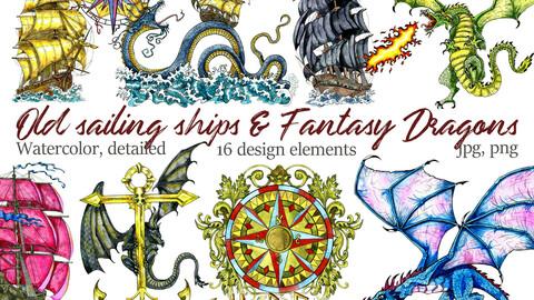 Old Sailing Ships and Fantasy Dragons