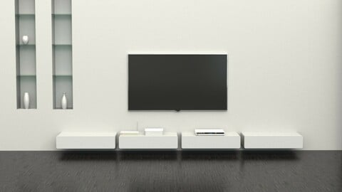High Glossy Wall Mounted TV Wall Shelf Chest of drawers