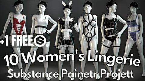 10 Realistic women's lingerie ( Substance Painter .SPP )