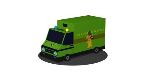 Biohazard cargo transportation vehicle Low poly