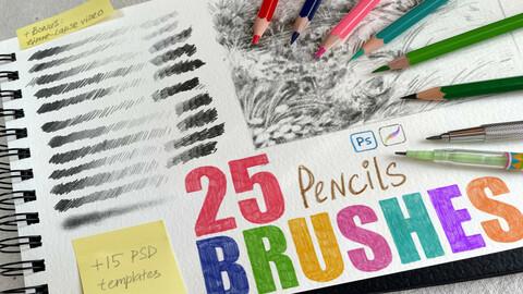 Pencils brushes + PSD templates