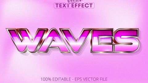 Waves text, 80s grain gradient color style editable text effect