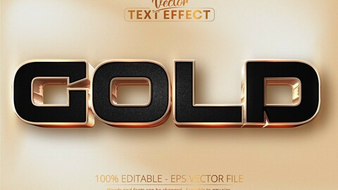 Gold text, luxury rose gold editable text effect